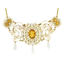 Vintage Citrine & Seed Pearl* Filigree Necklace::Doyle & Doyle