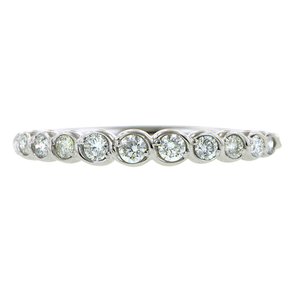 Contemporary ring: a White Gold Entwined Diamond Wedding Band- Heirloom sold  by Doyle & Doyle vintage and antique jewelry boutique.