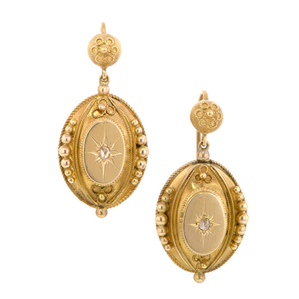 Antique Engraved Star Rose Cut Earrings::Doyle & Doyle