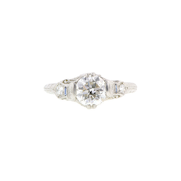 Art Deco TRB 1.02ct Pierced & Engraved Platinum Engagement Ring:: Doyle & Doyle