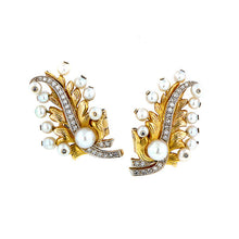 Vintage Pearl* & Diamond Feather Earrings