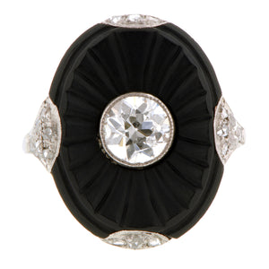 Art Deco Diamond & Onyx Ring:: Doyle & Doyle