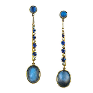 Moonstone Sapphire & Pearl Drop Earrings:: Doyle & Doyle