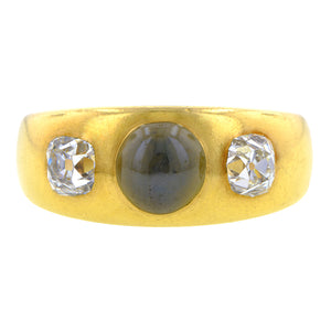 Victorian Cat's Eye Chrysoberyl & Diamond Ring