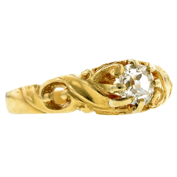 AArt Nouveau Diamond Ring, Old Mine 0.48ct., sold by Doyle & Doyle an antique and vintage jewelry store.