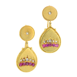 Victorian Ruby & Diamond Drop Earrings:: Doyle & Doyle
