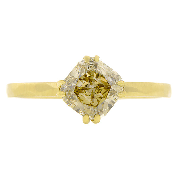 Brown Diamond Solitaire Engagement Ring, Cushion 1.56ct:: Doyle & Doyle