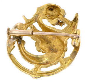 Antique Diamond Dragon Pin::Doyle & Doyle