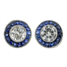Vintage Diamond and Sapphire Target Earrings :: Doyle & Doyle