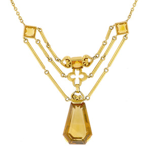 Vintage Citrine Festoon Necklace::Doyle & Doyle