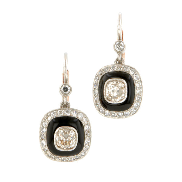 Onyx & Diamond Drop Earrings::Doyle & Doyle
