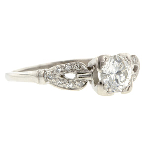 Vintage Engagement Ring, Old Euro 0.61ct