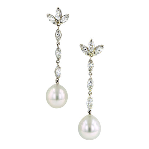 Vintage Diamond & Pearl Drop Earrings