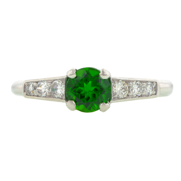 Vintage Tsavorite Garnet & Diamond Ring