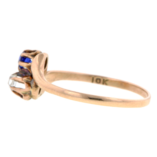 Antique Rose Cut Diamond & Sapphire Moi et Toi Ring::Doyle & Doyle