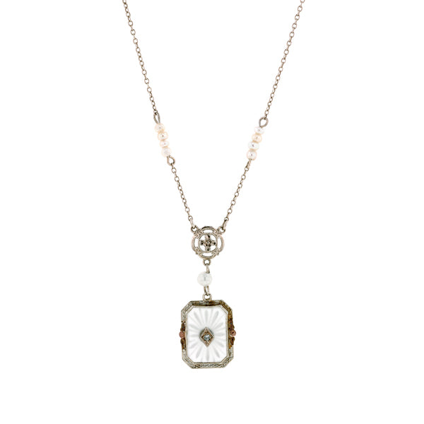 Art Deco Rock Crystal, Diamond & Pearl Necklace