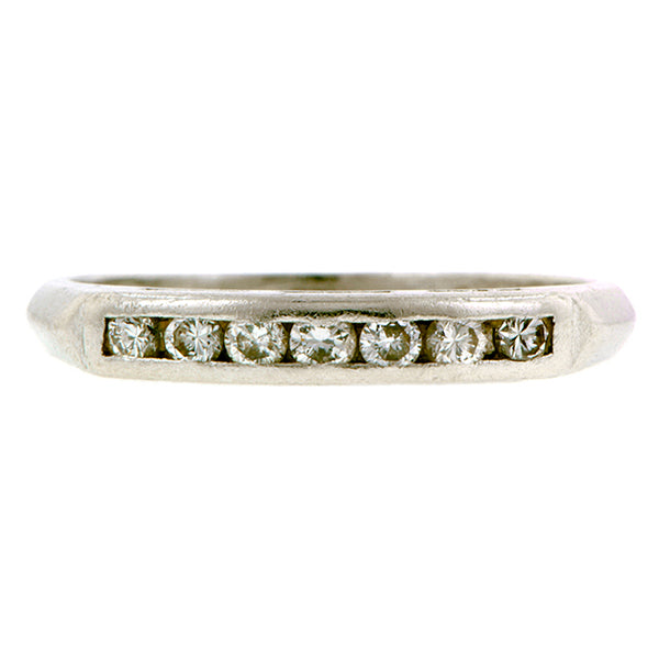 Vintage ring; a Platinum Diamond Wedding Band sold by Doyle & Doyle vintage and antique jewelry boutique.