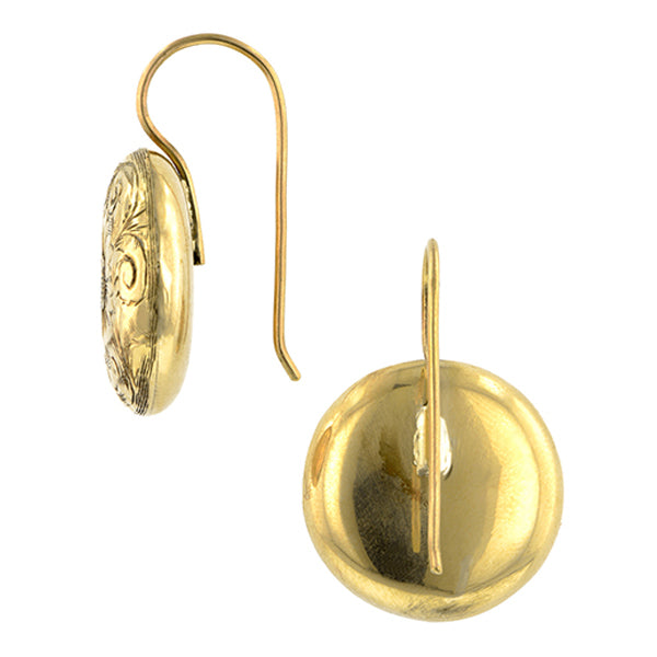 Vintage Engraved Round Drop Earrings:: Doyle & Doyle