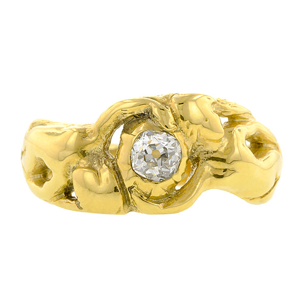 Art Nouveau Antique Diamond Ring, Old Mine 0.28ct