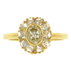 Vintage Yellow Diamond & Rose Cut Diamond Cluster Ring