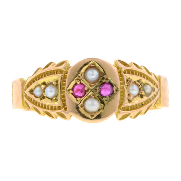Edwardian Ruby & Pearl Ring:: Doyle & Doyle