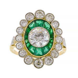 Diamond & Emerald Frame Ring, TRB 1.03ct:: Doyle & Doyle