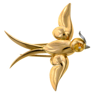 Retro Diamond Bird Pin