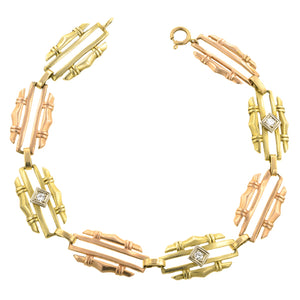 Vintage Two-Tone Gold & Diamond Link Bracelet