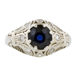 Art Deco Sapphire & Diamond Filigree Ring, sold by Doyle & Doyle an antique and vintage jewelry store.