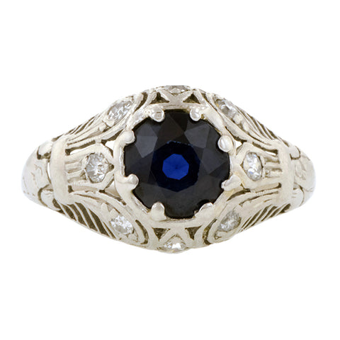 Art Deco Sapphire & Diamond Filigree Ring:: Doyle & Doyle