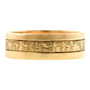 Vintage Gold Patterned Wedding Band::Doyle & Doyle