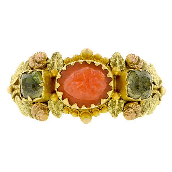 Georgian Coral Cameo &  Green Quartz Ring:: Doyle & Doyle
