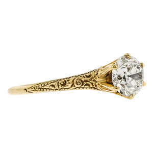 Art Deco Diamond Solitaire Engagement Ring, Old Euro 1.02ct