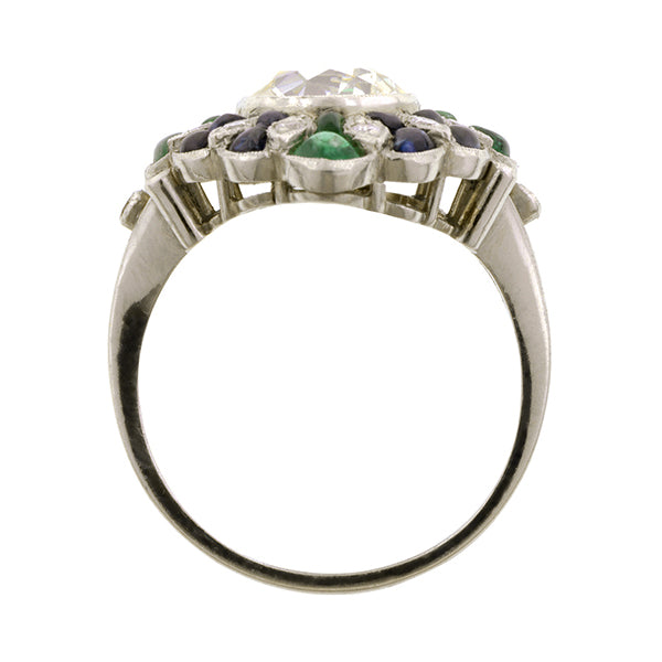 Diamond, Sapphire & Emerald Ring, Old Mine 2.33ct::Doyle & Doyle