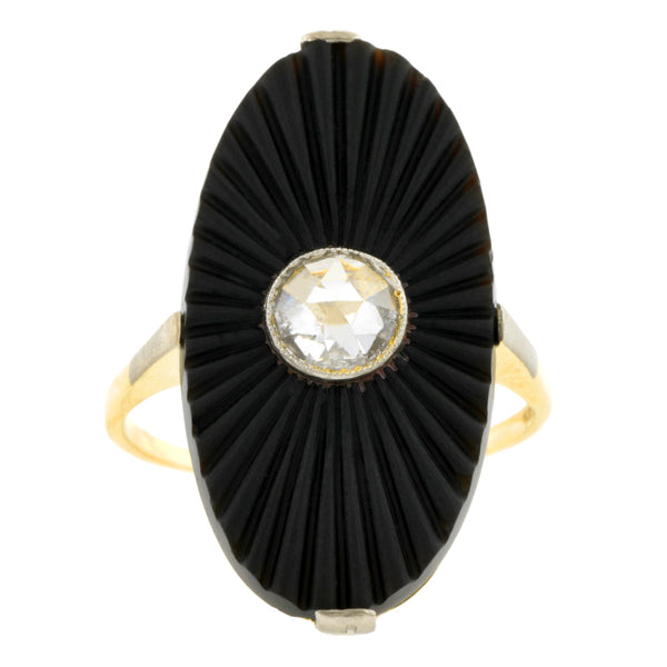 Art Deco Onyx & Rose Cut Diamond Ring, 0.33ct:: Doyle & Doyle