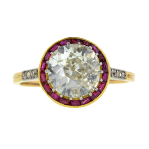 Edwardian Diamond & Ruby Ring, Old Euro 1.63ct:: Doyle & Doyle