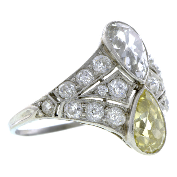 Edwardian Double Pear Diamond Ring:: Doyle & Doyle