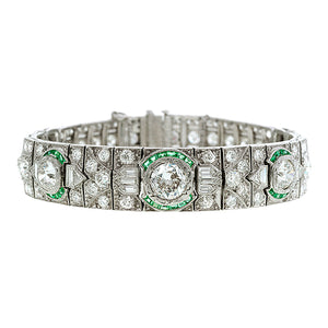 Art Deco Diamond & Emerald Bracelet::Doyle & Doyle