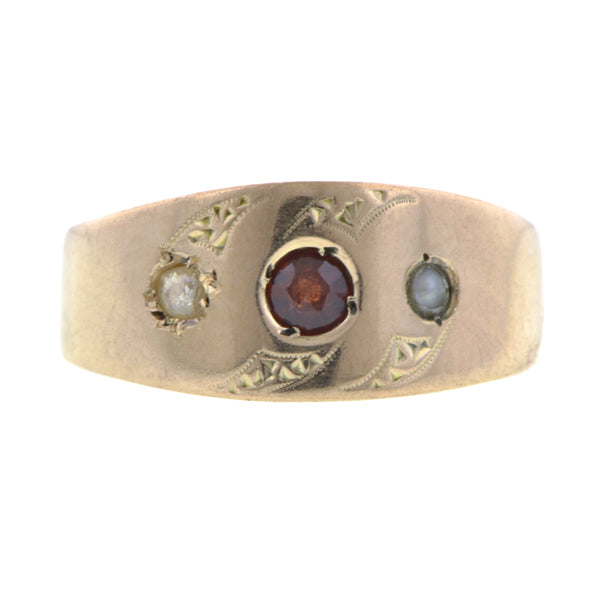 Antique Garnet, Diamond & Pearl Ring:: Doyle & Doyle