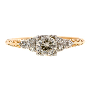 Vintage Engagement Ring, RBC 0.30ct