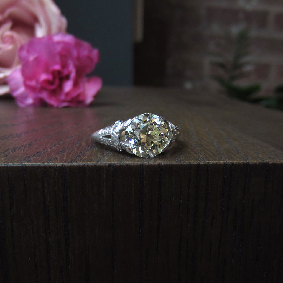 Art Deco Engagement Ring, Old European 3.41ct:: Doyle & Doyle