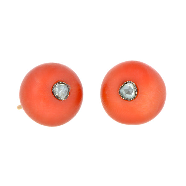 Victorian Rose Cut Diamond & Coral Button Earrings::Doyle & Doyle