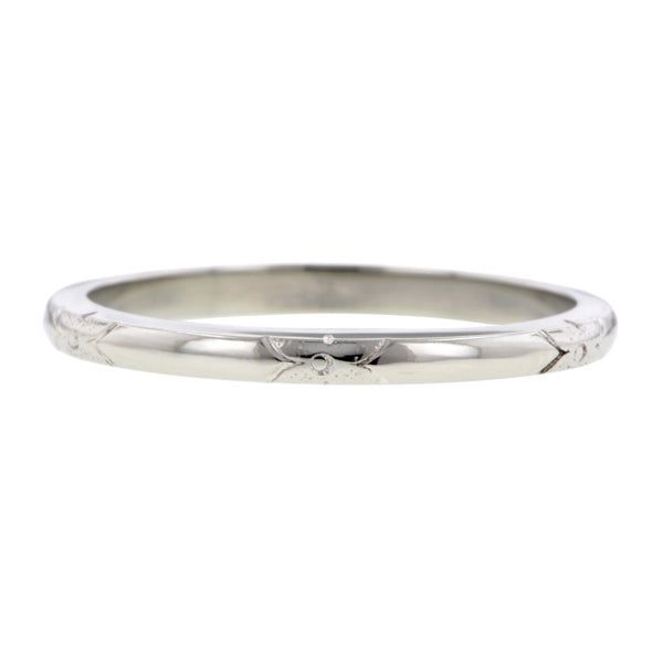 Art Deco Patterned Wedding Band::