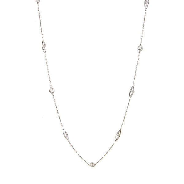 Vintage Diamond and Fancy Link Platinum Chain Necklace