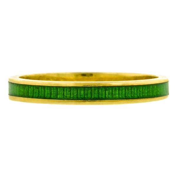 Green Champleve Enamel Band