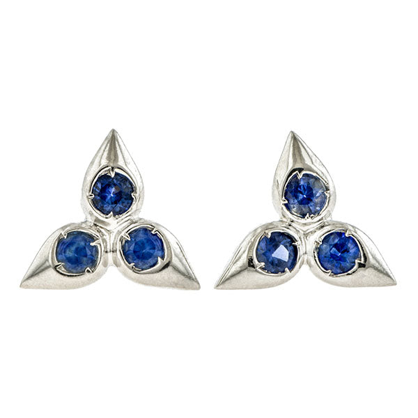 Trefoil Sapphire Earrings- Heirloom by Doyle & Doyle
