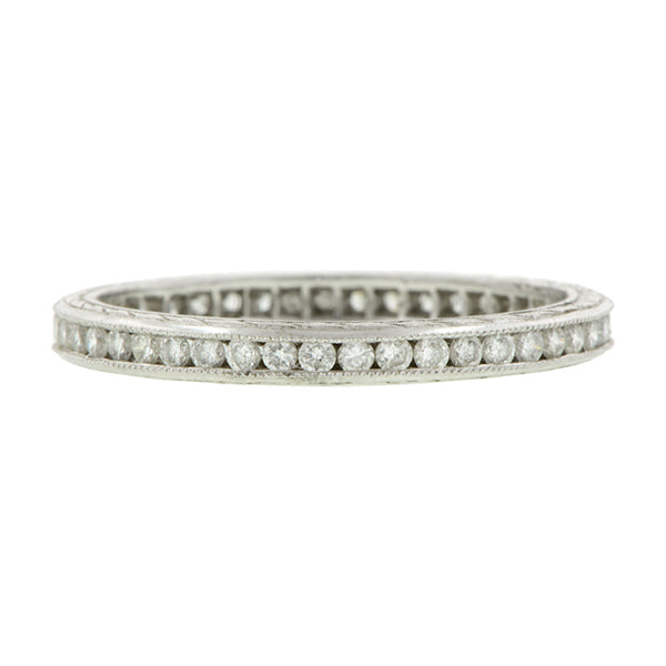 Channel Set Diamond Eternity Wedding Band Ring sold by Doyle & Doyle vintage and antique jewelry boutique.