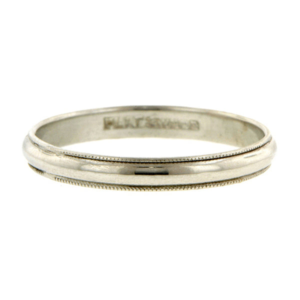 Vintage ring: a Platinum Wedding Band sold by Doyle & Doyle vintage and antique jewelry boutique.