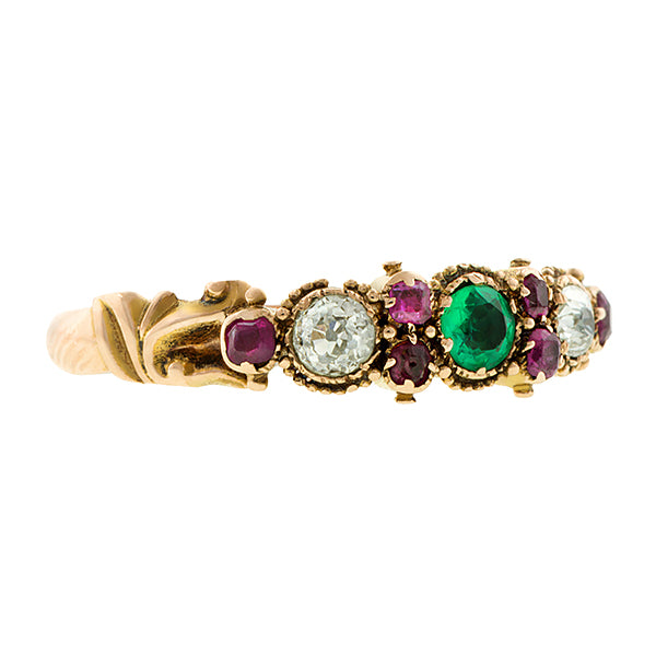 Victorian Emerald, Ruby & Diamond Ring::Doyle & Doyle