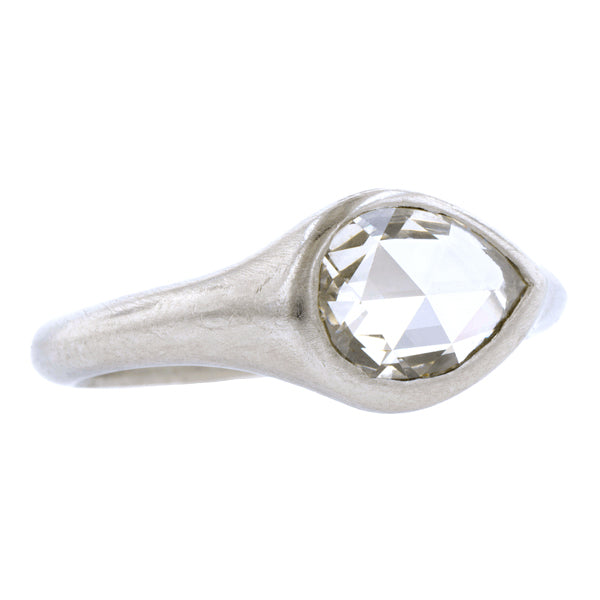 Pear Shaped Rose Cut Solitaire Ring, 0.76ct